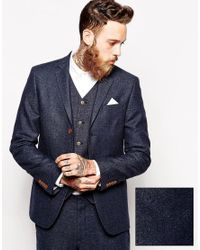 ASOS Blue Slim Suit Jacket In Herringbone for men