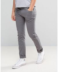 Farah | Gray Slim Fit Trousers In Mid Grey for Men | Lyst