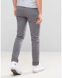 Farah - Gray Slim Fit Trousers In Mid Grey for Men - Lyst