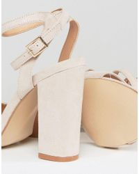 Truffle Collection Natural Wide Fit Wrap Ankle Strap Heeled Sandal