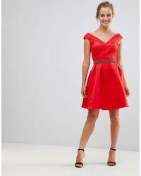 Little Mistress Red V Front & Back Skater Dress With Embellished Waist
