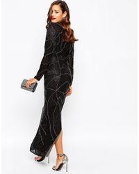 ASOS Black Red Carpet Delicate 20s Beaded Long Sleeve Maxi Dress