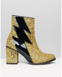 House of Holland Metallic Thunder Gold Glitter Heeled Ankle Boots