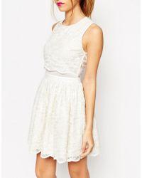 ASOS - Natural Asos Lace Crop Top Skater Dress - Lyst