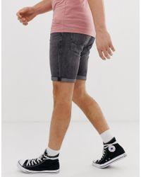 Pantaloncini di jeans nero slavato di Jack & Jones in Black da Uomo