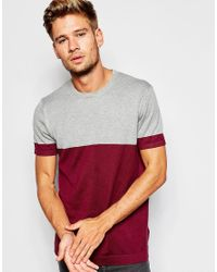 ASOS - Red Cotton Knitted Tshirt With Colour Block for Men - Lyst