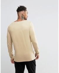 ASOS - Brown Extreme Muscle Long Sleeve T-shirt With Boat Neck In Tan for Men - Lyst