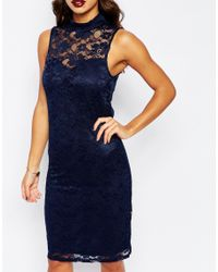 Vero Moda - Blue High Neck Lace Mini Dress - Lyst