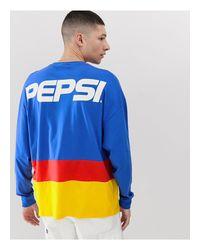 Pepsi - Maglia oversize a maniche lunghe colour block con scritta sul retro di ASOS in Blue da Uomo