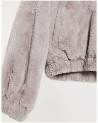 Лавандовая Короткая Куртка Из Искусственного Меха -фиолетовый Bershka, цвет: Purple
