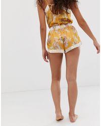 New Look Yellow – Pyjama-Shorts mit tropischem Muster