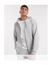 Tall - Felpa basic grigia con cappuccio e zip di Threadbare in Gray da Uomo