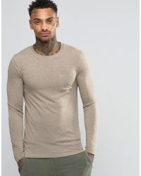ASOS Natural Linen Mix Muscle Long Sleeve T-shirt With Pocket In Beige for men