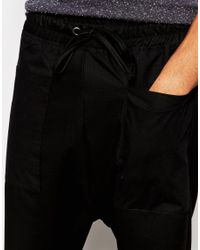 ASOS - Drop Crotch Joggers In Lightweight Fabric With Pockets - Black for Men - Lyst
