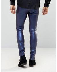 ASOS Meggings In Metallic Blue for men