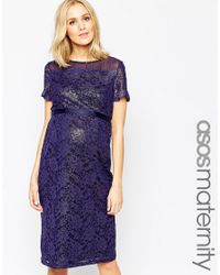 ASOS | Blue Maternity Bodycon Dress In Lace With Chiffon | Lyst