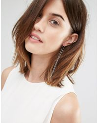 Pieces - Metallic Belina Hoop & Through & Through Earrings - Lyst