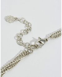 Pieces - Metallic Beluna Multirow Necklace - Silver - Lyst