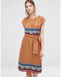 Trollied Dolly Multicolor Elastic Fantastic Ditsy Print Dress