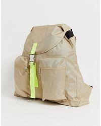 Бежевый Рюкзак С Контрастным Неоновым Ремешком ASOS для него, цвет: Multicolor