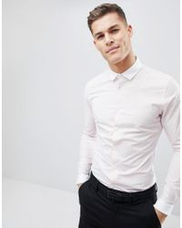 ASOS Pink Smart Sretch Slim Check Shirt With Contrast Collar And Cuff for men