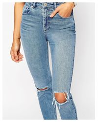 ASOS Blue Farleigh High Waist Slim Mom Jeans In Prince Wash With Busted Knees