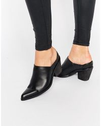 Warehouse Black Western Mule Boot
