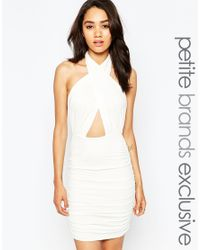 John Zack - White Plunge Wrap Front Halter Neck Dress - Lyst