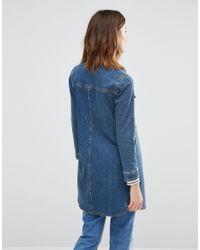 Warehouse Longline Denim Jacket - Blue