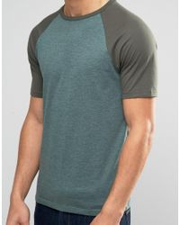 ASOS - T-shirt With Contrast Raglan Sleeves In Green for Men - Lyst