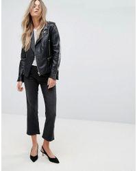 Mango - Black Leather Biker Jacket - Lyst