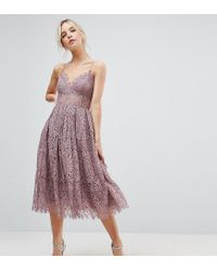ff5d14ac945 ASOS Lace Cami Midi Prom Dress in Purple - Lyst