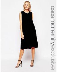 ASOS | Black Maternity Nursing Sleeveless Midi Skater Dress With Double Layer | Lyst