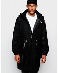 ASOS | Harris Tweed Parka Jacket In Black for Men | Lyst