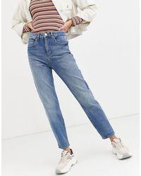 Miss Selfridge Mom Jeans Mid Wash Blue