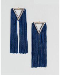 ASOS - Metallic Asos Statement Jewel Triangle And Tassel Earrings - Lyst
