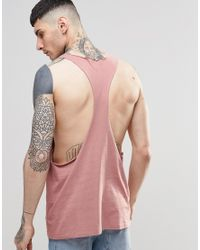 ASOS | Vest With Raw Edge Extreme Racer Back In Pink for Men | Lyst