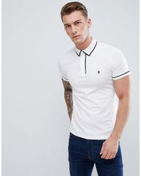 French Connection White Piping Polo Shirt for men