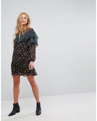 Vila Black Floral Frill Mesh Mini Dress