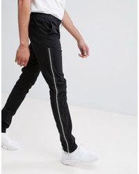 ASOS DESIGN Tall Skinny Pants With Side Zips In Black for men