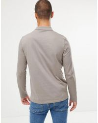 ASOS Natural Long Sleeve Jersey Polo In Beige for men