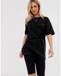 T-shirt boyfriend oversize nera di New Look in Black