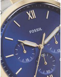 Часы Из Разных Металлов С Темно-синим Циферблатом Neutra Chrono Fs5706-мульти Fossil для него, цвет: Blue