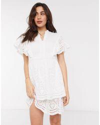 Vero Moda White Broderie Mini Dress With Flutter Sleeves
