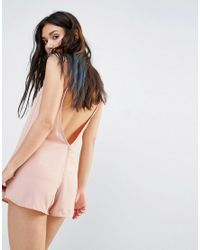Motel | Natural Cami Playsuit With Low V Back | Lyst