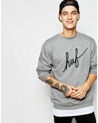 Huf Gray Demi Script Sweatshirt for men