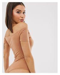 Body sabbia con scollo alla Bardot e zip sul davanti di Missguided in Natural