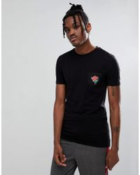 ASOS - Black Design Muscle T-shirt With Rose Woven Printed Pocket for Men - Lyst