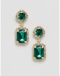 ASOS | Green Double Jewel Drop Earrings | Lyst