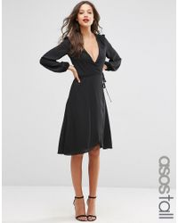 ASOS | Black Midi Dress With 70's Blouson Sleeves And Wrap Front | Lyst